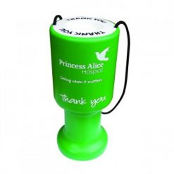 round printed charity collection box - green