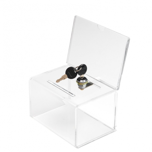Clear Acrylic Collection Box with header